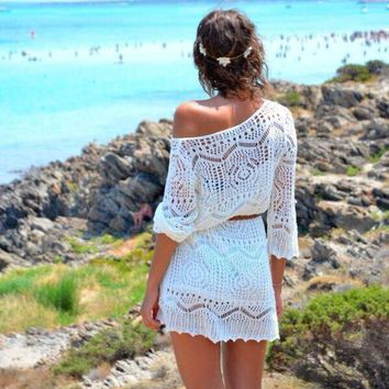 Sexy Women Beach Cover Up Crochet Hollow Out White Lace Dress Beach Party Dresses With Belt tunique robe de plage Outwear C1572