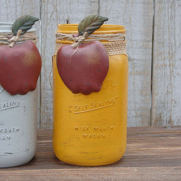 Mason Jars, Shabby Chic, Blue, Grey, Goldenrod, Country, Primitive, Apples, Burlap, Rustic, Hand Painted, Distressed, Painted Mason Jar
