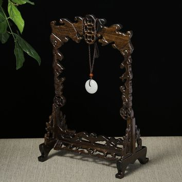 Black Solid Wood Jade Hanging Rack Carving Art Crafts Home Living Room Desktop Decorations Antique Shelf Stand Statues Sculpture