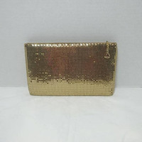 1970s Vintage Whiting & Davis Gold Toned Mesh Evening Bag, Cosmetic, Formal Purse, Zipper Closure, 1 Pocket, 7 5/8 x 4 5/8 In. Vintage Purse
