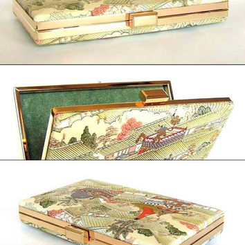 Box Clutch Minaudière Clamshell Purse, Vintage Kimono Silk - Kyoto Summer Festival Scene, Cream, Sage, Orange, Yellow and Gold Evening Bag