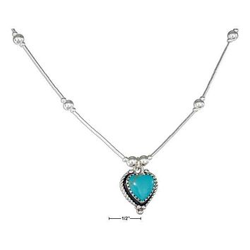 "Sterling Silver Necklaces: 16"" Roped Edge Simulated Turquoise Heart Liquid Silver Necklace"