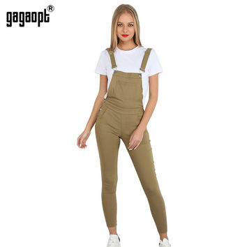 Gagaopt 2017 Autumn Women Jeans Overalls Solid Long Pants Women Playsuit High Waist Jeans With Pocket Jumpsuits Rompers
