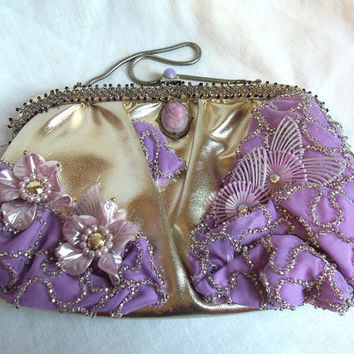 Lilac clutch vintage beaded cameo flowers by HopscotchCouture