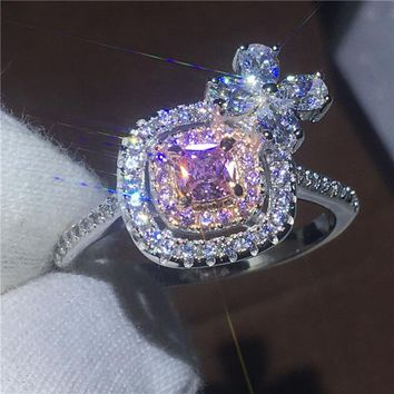 Flower jewelry Lovers ring Cushion cut AAAAA Zircon Cz 925 sterling silver Engagement wedding band rings for women Jewelry Gift