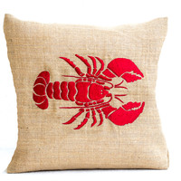 Sea pillow- Embroidered lobster pillow- Burlap pillow- Red lobster throw pillow cushion- 26x26 - Gift- Bedding- Red cushion- Oceanic pillow