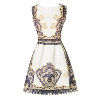 Bzybel Women's Audrey Hepburn Style Sleeveless Floral Printed Fit-and-Flare Retro Vintage Mini Dress