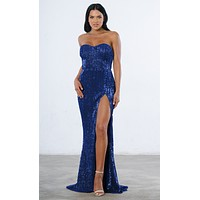 Show Me Some Love Blue Sequin Strapless Sweetheart Neck High Slit Fishtail Maxi Dress