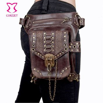 Corzzet Brown Leather Unisex Steampunk Retro Gothic  Hip and Holster Waist Bag Thigh Wallet Crossbody Bag Corset  Accessories