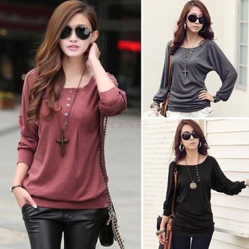 Fashion Batwing Autumn Spring Shirt Celebrity Style Women's Loose Pullover Shirt Winter Fashion Cotton Blouse  T-Shirt 19889|40901 = 1930092548