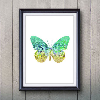 Yellow Green Butterfly Print - Home Living - Butterfly Painting - Butterfly Wall Art - Wall Decor - Home Decor, House Warming Gifts
