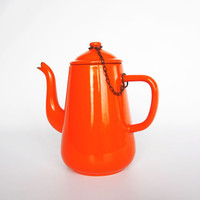 Vintage enamel orange coffee pot, 1960 rustic shabby coffee pot, retro orange enamelware, cottage house rustic vase, orange kitchen decor