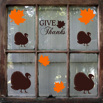 Thanksgiving Decal / Fall Decoration / Give Thanks Decal