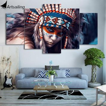 HD Printed 5 Piece Canvas Art Native American Indians Girl Painting Wall Pictures Home Decor Free Shipping NY-7264B