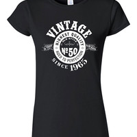 50th Birthday Gift Vintage 1965 Whisky Label T-shirt Tshirt Tee Shirt Dad Mom Men Women Crest Fifty bday Funny Aged perfection Gift for Dad