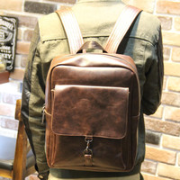 Brown Leather Laptop Bag Backpack Travel Bag