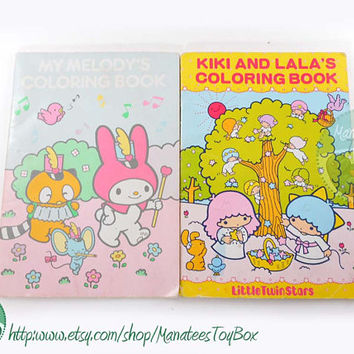 Vintage Sanrio Coloring Books Set of 2: Melody + Kiki and Lala 70s / 80s TLC