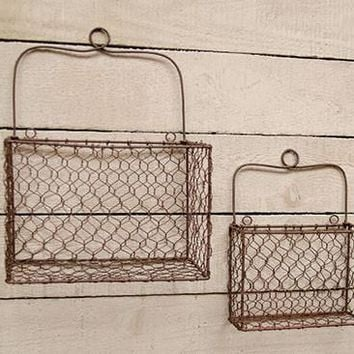 Farmhouse Chickenwire Storage Baskets (set of 2)