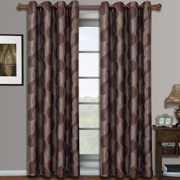 Chocolate Savanna Pair (Two Panels ) Jacquard Grommet Window Curtains