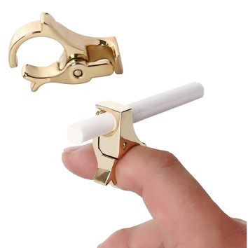 Cigarette Ring Holder Hands Free Smoking Clip On Rack Men & Women | Durable Gold Plated Alloy | 1 Hand Operation | Ideal Gadget for Console, PS4 PS3 Controller, Guitar Players and Driving (Gold)