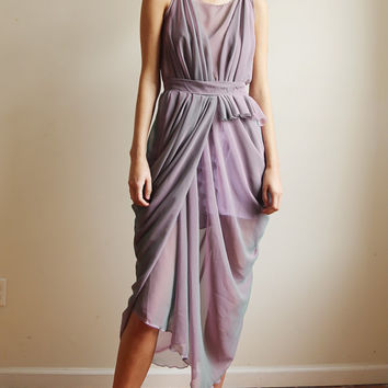 Louisa - irredescent chiffon dress with grecian draping
