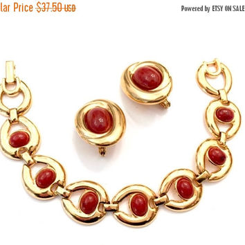 Monet Demi Parure, Bracelet & Earrings Set, Carnelian Glass Cabochons, Gold Tone Metal, Clip-on Earrings, Vintage Demi, Designer Signed