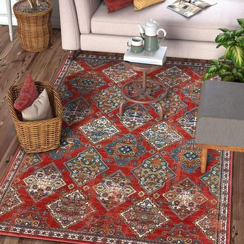 2943 Red Panel Oriental Area Rugs