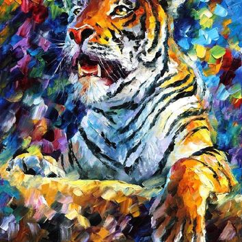 angry tiger — PALETTE KNIFE Oil Painting On Canvas By Leonid Afremov studio / Afremov Art auction Paintings By Leonid Afremov.