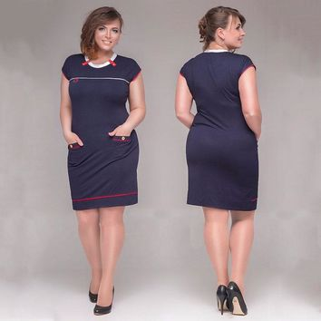 Big size 6XL woman dress 2017 hot summer short Sleeve patchwork dresses plus size fat MM women clothing 6xl dress free shipping