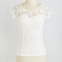 Mid-length Short Sleeves Crochet I Do Top