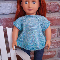 Blue Swing Top for 18 Inch Doll, Hand Knitted Sweater for 18-Inch Fashion Doll, Pretty Summer Pullover with Short Sleeves and Yellow Buttons