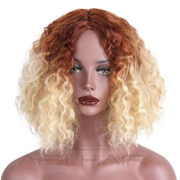 """I's a wig""   Ombre Brown Blonde Water Wave Synthetic ""Heat Resistant"""