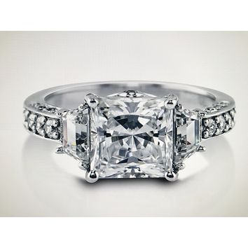 An Extraordinary Three Stone 3CT Princess Cut Russian Lab Diamond Engagement Ring