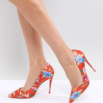 ALDO Heeled Court Shoe in Red Floral Print at asos.com
