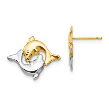 Two-Tone Frolicking Dolphins Post Earrings in 14k Gold and Rhodium