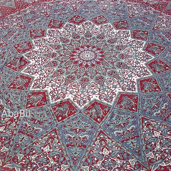 Queen Size Burgundy Elephants Flowers Star Printed Indian Mandala Hippie Cotton Bedspread Tapestry Hippie Bohemian Throw Bedcover Home Decor