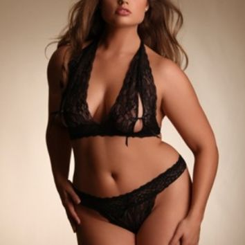Plus Size Lingerie | Plus Size Lace Halter Tie Cup Bralette And Thong Set | Hips & Curves