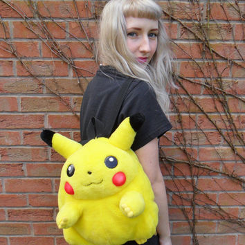 Vintage Retro 90s Plush Club Kid Pikachu Pokemon Kids Backpack Rucksack Bag
