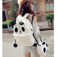 New Korean Fashion Canvas Panda Shoulder School Cross Bag Backpack Handbags Free Shipping
