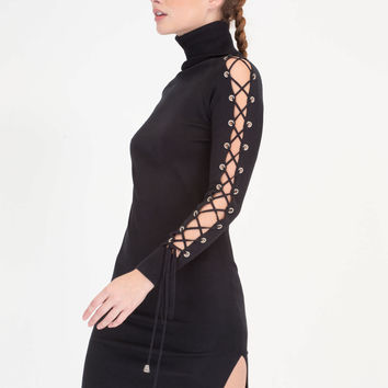 Laced It Knit Turtleneck Midi Dress GoJane.com