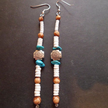 Authentic Navajo,Native American,Southwestern,heishi shell,Navajo ghost beaded,turquoise wire earrings.