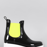 Qupid Elastic Gore Round Toe Low Wedge Rain Boots