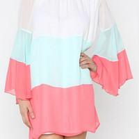 Neopolitan Off Shoulder Dress - Pink, Mint, and White
