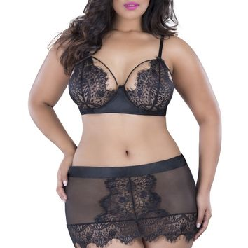 Oh la la Cheri Plus Size 1X Eyelash Lace Skirtini Bottom Panty Black