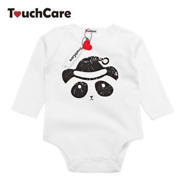 Infant Cute Cartoon Animal Panda Printed Baby Boys Girls Rompers White Color Cotton Kids Jumpsuit Long Sleeve Toddler Clothes
