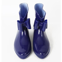 Paris Bow Rain Boots - Blue