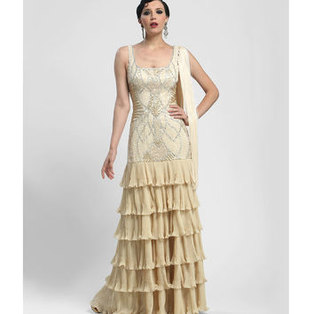 Sue Wong Summer 2014  Champagne Art Deco & Fringe Evening Gown