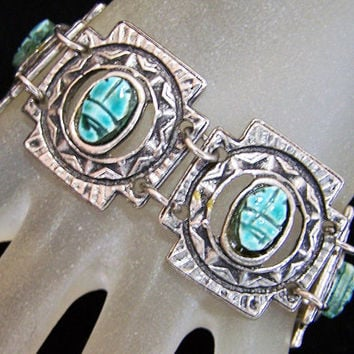 Egyptian Revival Faience Blue Scarab Bracelet, Adjustable Length, 1960s Vintage Jewelry 1217