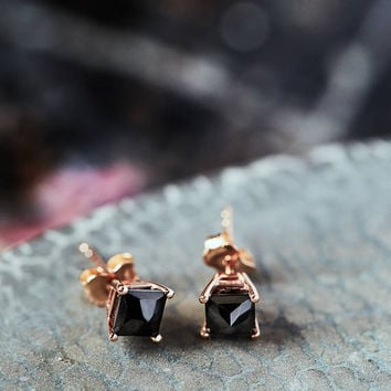 0.5ct black stone, sterling, gold, Cinderella ear studs, classic jewelry, everyday, eco fashion, elegant wear, unique gift for her.