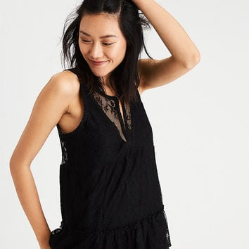 AE Sheer-Paneled Lace Tank, True Black